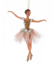 "KSA 6.5"" PINK & GOLD BALLERINA w/PEARL & PINK TULLE SKIRT XMAS ORNAMENT - $12.88"