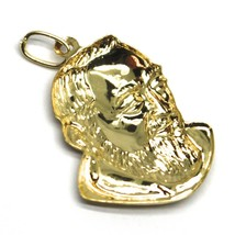 18K YELLOW GOLD PENDANT, SAINT PIO OF PIETRELCINA FACE, 26mm SATIN VERY DETAILED image 2