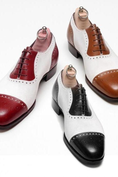 Handmade Men's Two Tone Brogue Style Oxford Leather Shoes