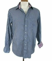Tommy Hilfiger Men's Striped Dress Shirt Reg Fit White Blue Size 15 1/2 ... - $15.97