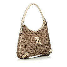 Pre-Loved Gucci Brown Beige Jacquard Fabric GG Abbey Hobo Bag Italy - $382.42