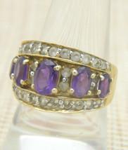 Purple Amethyst Clear Rhinestone Sterling Silver Gold Vermeil Ring VTG Size 8.5 - $39.59