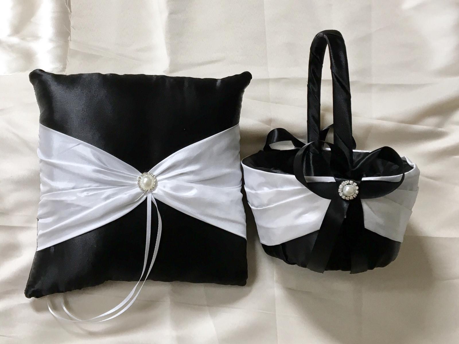 Wedding ring bearer pillow flowergirl basket and 50 similar items wedding ring bearer pillow flowergirl basket custom made white over black satin izmirmasajfo