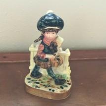 Vintage American Greetings Made in Japan Ceramic Girl Walking on Cobblestone Nex - $10.39