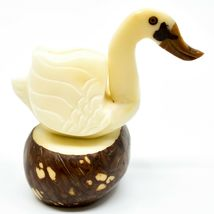Hand Carved Tagua Nut Carving Swan Goose Bird Figurine Made in Ecuador image 4
