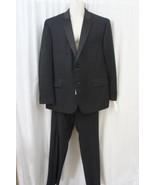 Izod Mens Pant Suit Sz 48R 42W Black Solid 2 PiecePolyester Blend Busine... - $147.92
