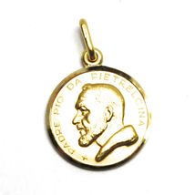 18K YELLOW GOLD MEDAL PENDANT, SAINT PIO OF PIETRELCINA SMALL 13mm VERY DETAILED image 3