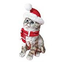 Gray Tabby Cat Statue with Santa Hat and Scarf - $16.36