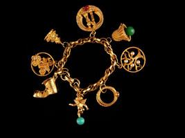 Large 1950s WEDDING Charm Bracelet - vintage wedding rings - Bride Groom... - $225.00