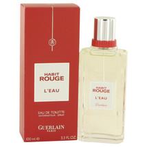 Habit Rouge L'eau by Guerlain Eau De Toilette Spray 3.3 oz for Men - $41.58