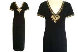 80s MAGGY LONDON Black NAUTICAL Sailor Design Gold Applique Trim Embroid... - $36.00