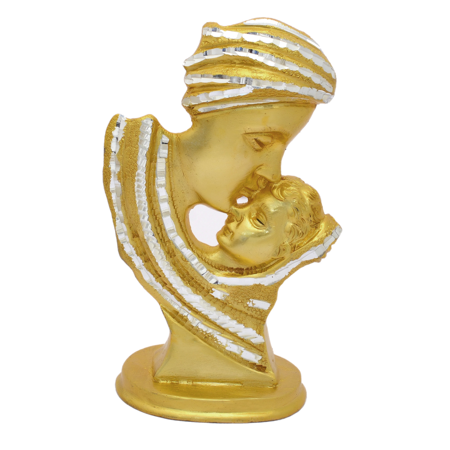 Mother and Son Figurine Lady Carrying Child Statue White Metal figurine