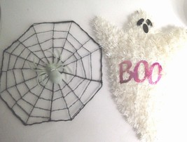 "Vintage Halloween Wall Door Hanging Wire White Ghost 15"" & Black Spider 10"" - $10.90"