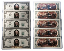 1976 BICENTENNIAL Colorized 2-SIDED U.S. $2 Bills * Lot of 5 Consecutive... - $93.46