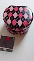 Jewelry Box Rings Pink Black Diamonds Mirror Hearts 2 Compartments Vinyl   - $9.95