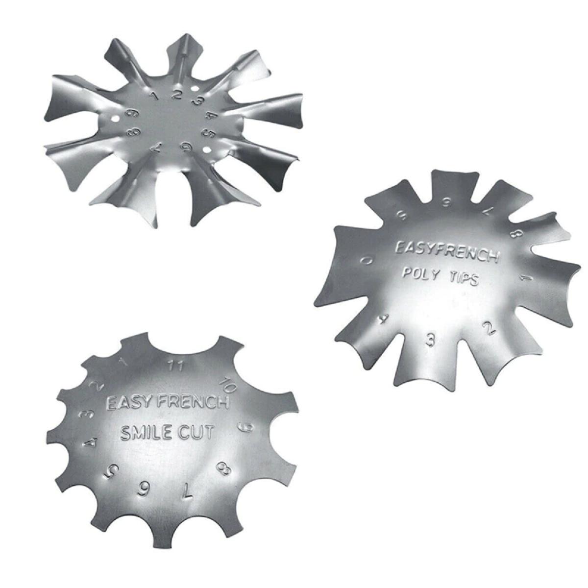 3 PCS French Smile Nail Stencil Cutter Trimmer Clipper Cut Multi-Size Manicure