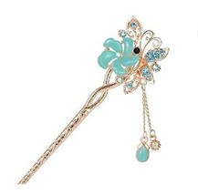 Classical Style Flower Hairpin Metal Rhinestones Hair Decoration, Blue