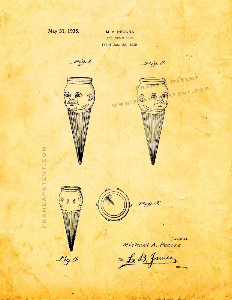 Primary image for Ice Cream Cone Patent Print - Golden Look