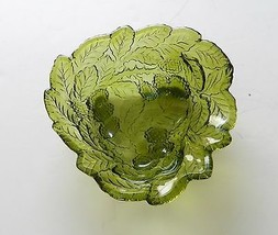 Loganberry Mint Bowl or Candy Dish Indiana Glass Olive / Avocado Green V... - $12.86