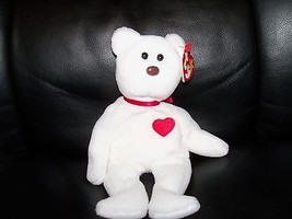 TY BEANIE BABY VALENTINO THE LOVE BEAR WITH PVC PELLETS NEW - $55.38