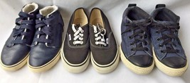 Boys Shoe 3 Pair Lot Black Vans Blue Converse Navy Cat & Jack High Tops Size 1 - $49.49