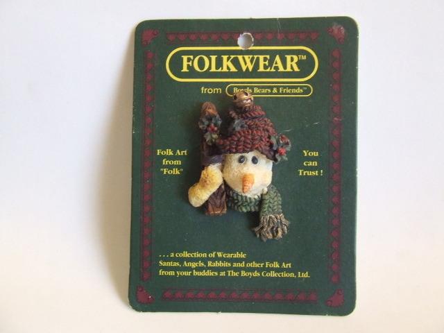 "Collectible Folkwear"" I Be Cold"" Skier Snowman Pin #2651 NIP"