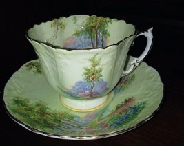 AYNSLEY EMBOSSED SQUARE TEA CUP & SAUCER MEADOW IN LIME GREEN PATTERN 493/2 - $40.00