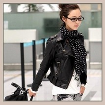 Retro Vintage Big Lapel Faux Leather Motorcycle Jacket w/ Studs and Snaps image 2