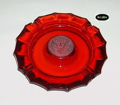 Fostoria Coin Glass Ruby Ashtray 7 1/2 in. center coin - $14.95