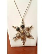 Vintage Tibetan Tribal Star Chakra Stone Handmade Boho Pendant Necklace  - $30.00