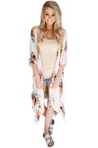 Ivory Floral Side Slit Boho Kimono  - $21.37