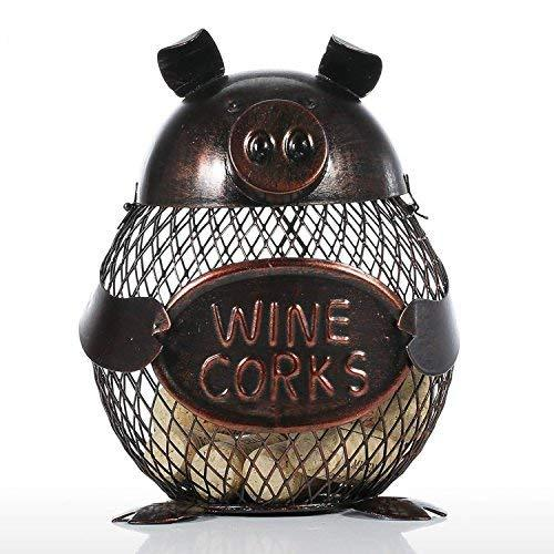 Wine Wood Cork Container Holder Cage Cute Metal Piggy Figurine Sculpture Wire Ne