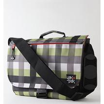 MEN'S GUYS YAK PAK MESSENGER LG SCHOOL SHOULDER STRAP BAG GREEN CHECK NE... - $39.99