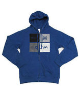 RVCA MEN'S Guys fleece jacket HOODIE BLUE SHADO... - $38.99
