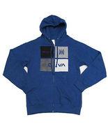 RVCA MEN'S Guys fleece jacket HOODIE BLUE SHADOW BOX MENS ZIP UP NEW - $38.99