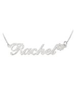 SPARKLING NAME NECKLACE WITH FLOWER: STERLING SILVER, 24K GOLD, ROSE GOLD - $123.49