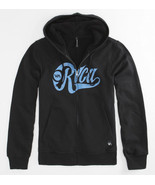 MEN'S GUYS RVCA BLACK SHERPA LINED SCREEN ZIP-UP FLEECE HOODIE BLUE LOGO... - $49.99