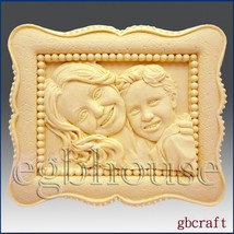 2D Silicone Soap Mold  - Mother and Child in Classic Frame - $24.95