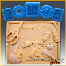 2D Silicone Soap/sugar craft/fondant/chocolate/candy Mold - Back to School - $44.55