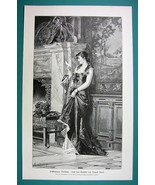 LOVELY MAIDEN Reads Love Letter by C. Kiesel - 1890s Antique Engraving P... - $12.15