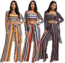 Outfits Off Shoulder Crop Tops and Wide Leg Long Pants with Ladies Cover up - $41.99