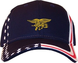 Seal Team Insignia Embroidered Stars & Stripes Baseball Cap Hat Navy - $27.95