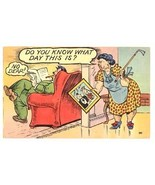 Vintage linen comic postcard anniversary couple  - $4.50