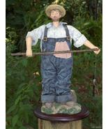 Shabby Country Fisherman with Fishing Pole Figurine  - $20.00