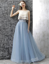 Dusty Blue Floor Length Tulle Skirt High Waisted Dusty Blue Bridesmaid Outfit image 7