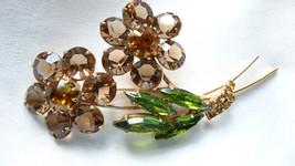 Vintage Double Blossom Flower Open Back Prong Rhinestone Brooch  - $65.00
