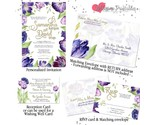 Purple Violet Tulip Watercolor Gold Wedding Invitation Set Custom RSVP Envelope