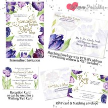 Purple Violet Tulip Watercolor Gold Wedding Invitation Set Custom RSVP Envelope - $42.57 - $59.40