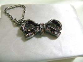 Coach Antique Silver Tone Pale Pink Stone & Flower Bow HandBag Charm KP1... - $36.47