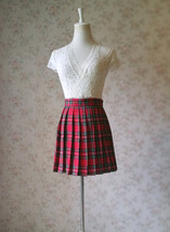 RED Pleated PLAID SKIRT Campus Style Red Plaid Pleat Skirt Red Check Mini Skirt image 2